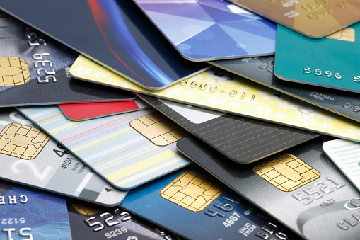 Stacked Credit Cards Stock Photo - Download Image Now
