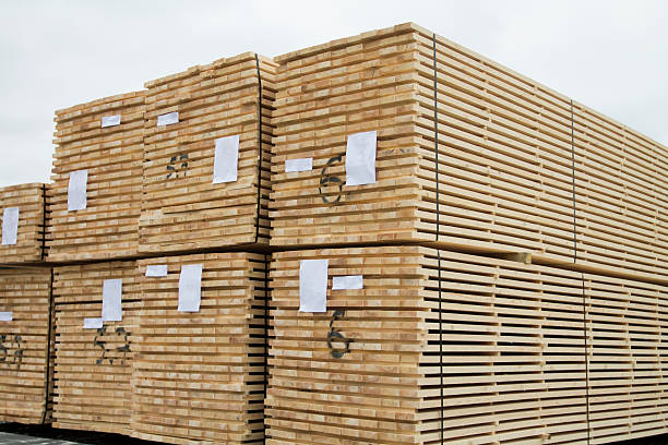 Stacked Cut Lumber stock photo