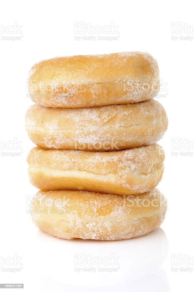 Stacked delicious sugared donuts royalty-free stock photo