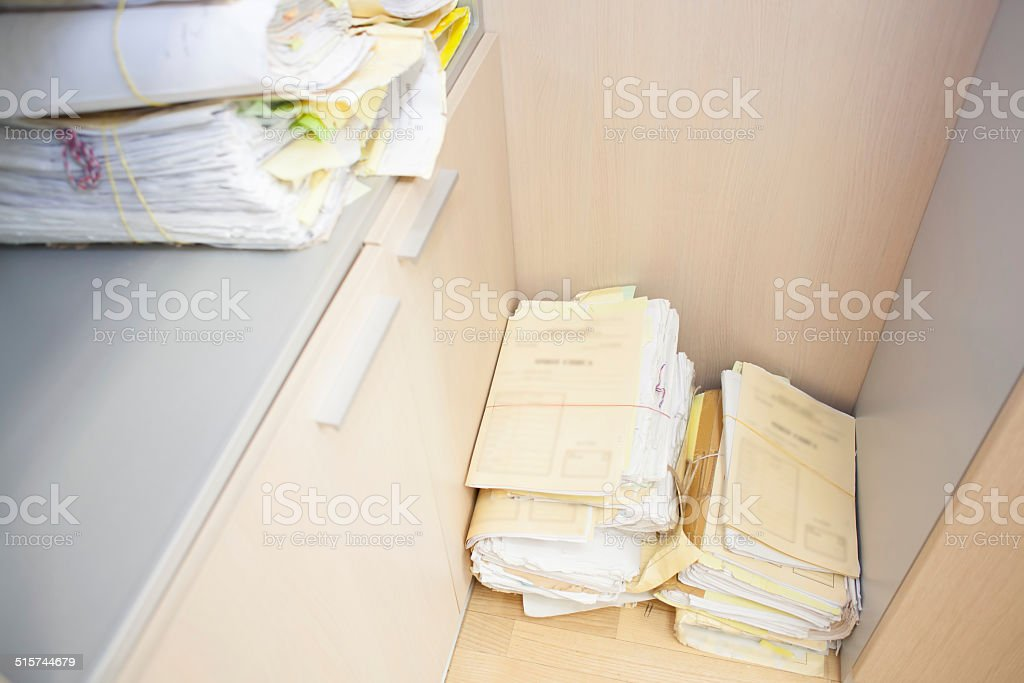 stacked documents stock photo