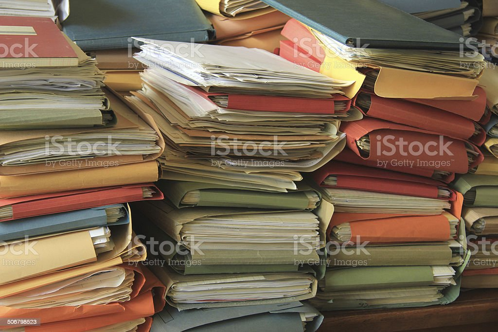 Stacked files stock photo