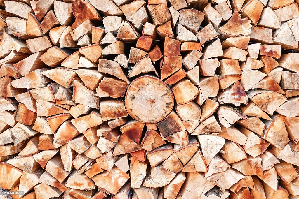 Stacked firewood background texture stock photo