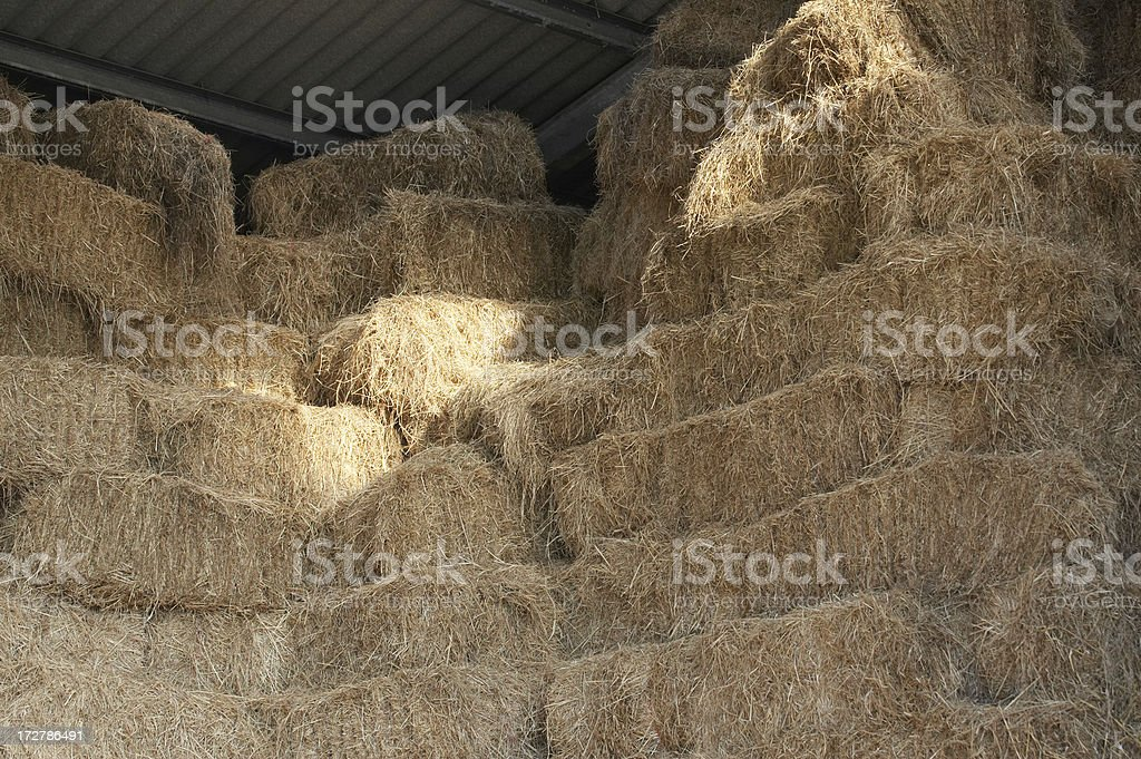 Stacked hay bales in barn royalty-free stock photo