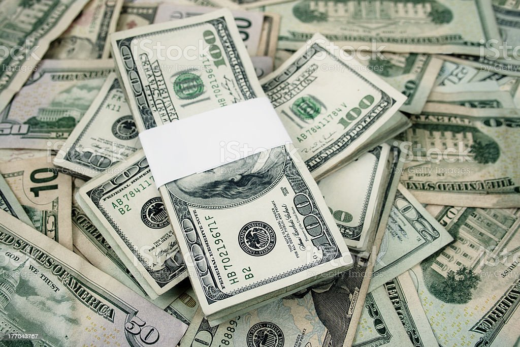 stacked Hundred dollar bills royalty-free stock photo