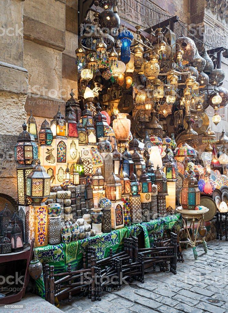 Stacked illuminated copper lanterns, Khan El Khalili bazaar, Cairo, Egypt stock photo