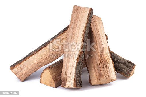 Stack of firewood on white background