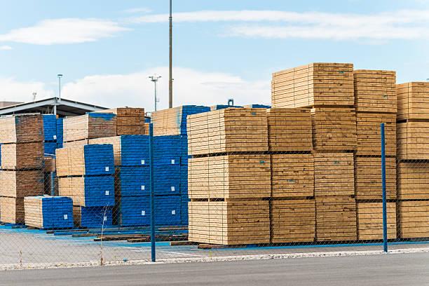 Stacked Lumber stock photo