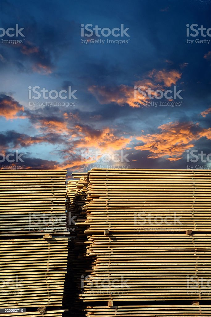 Stacked lumber stock photo