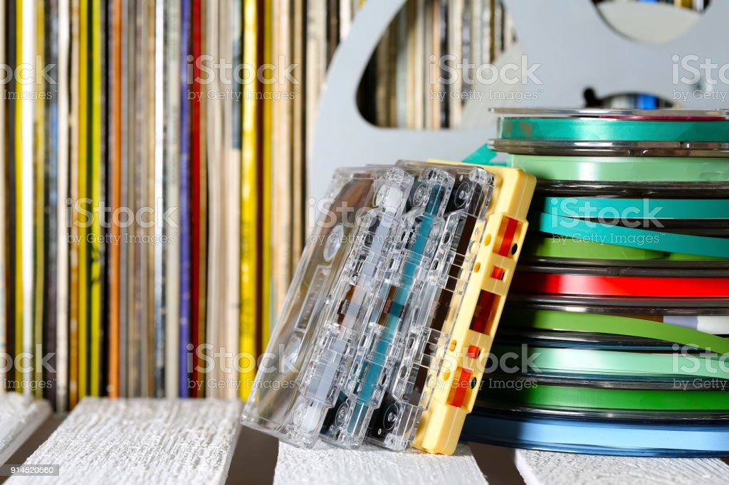 Stacked magnetic tapes stock photo