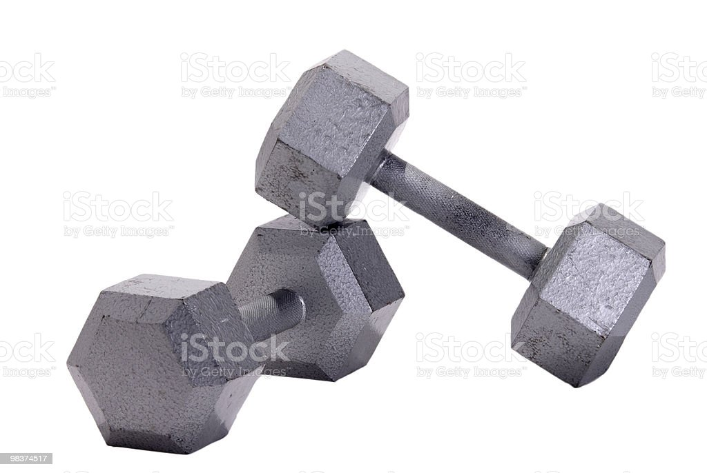 Stacked Metal Hex Dumbbells royalty-free stock photo
