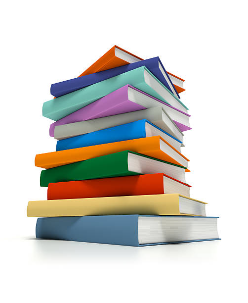 Stacked Multi-Colored Books stock photo