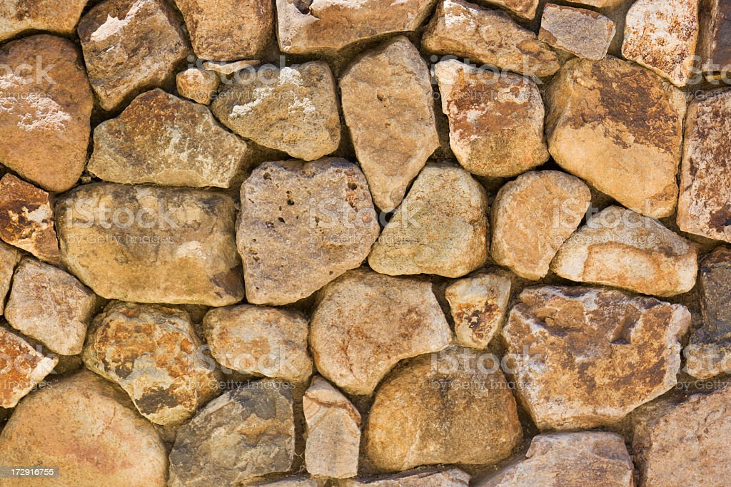 Stacked Natural Field Rock Wall Background royalty-free stock photo