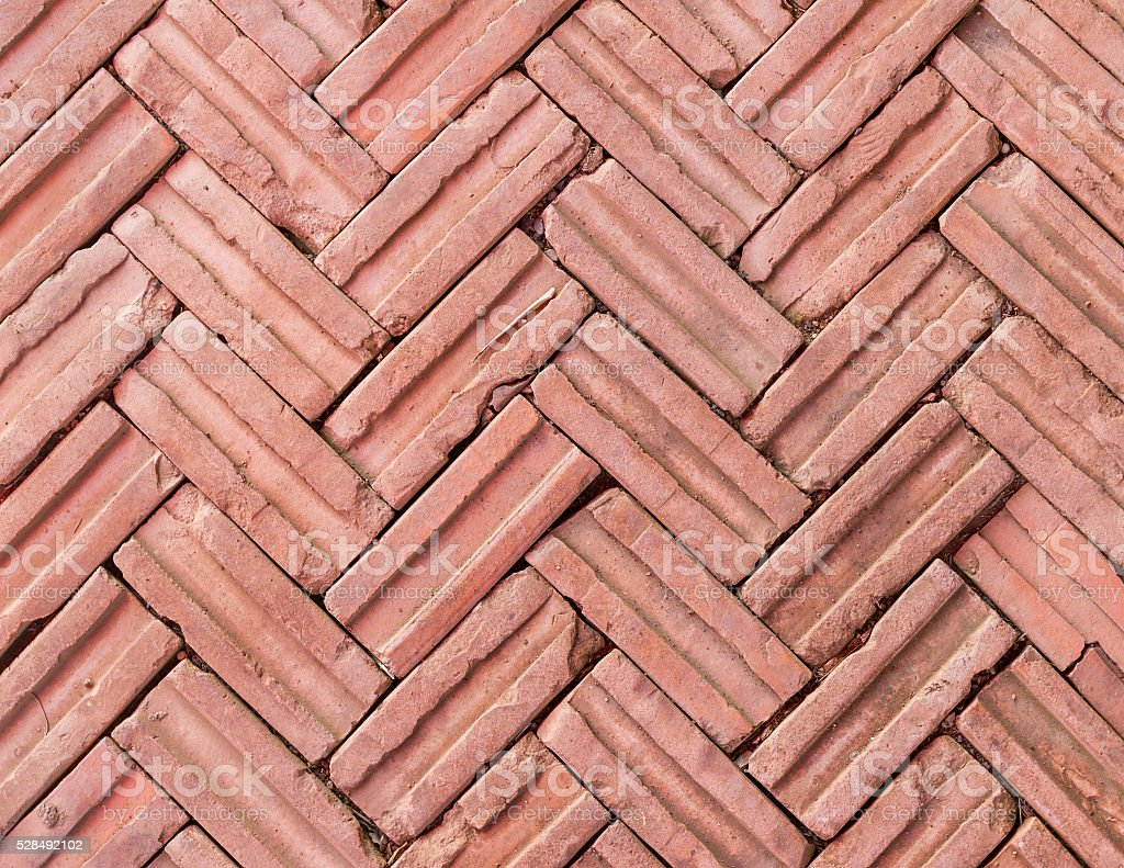 Stacked orange brick, flooring decorate stock photo