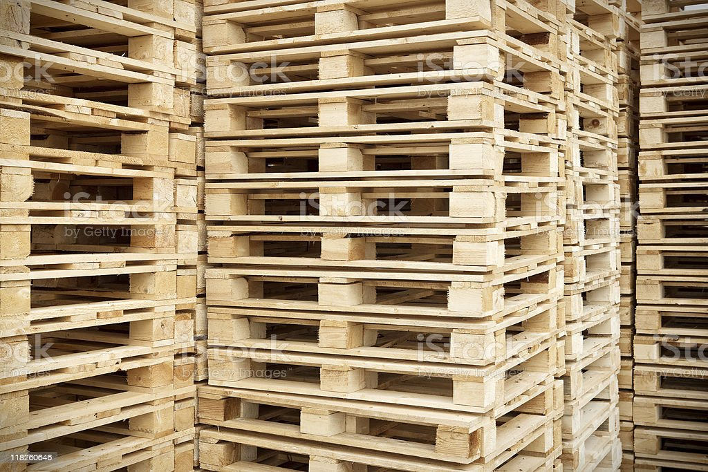 Stacked Pallets stock photo