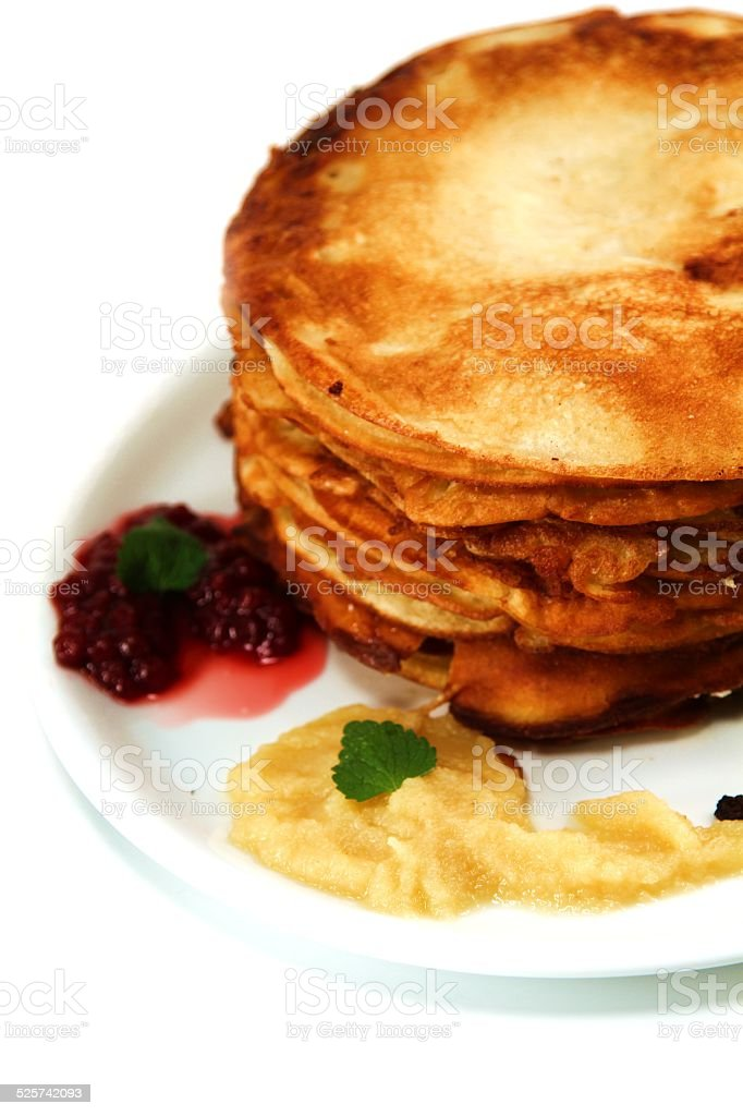 stacked pancakes stock photo