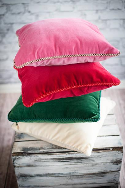 stacked pillows stock photo
