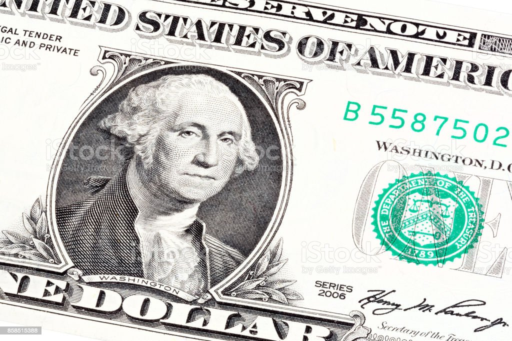 Stacked portrait of George Washington near seal department of th stock photo