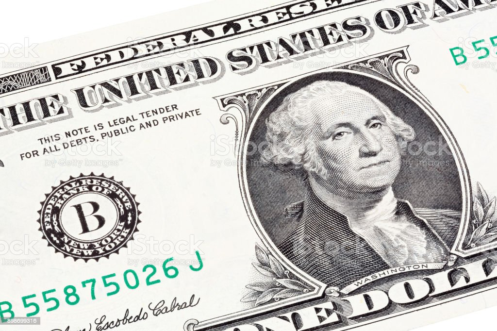 Stacked portrait of George Washington near seal of Federal Reser stock photo