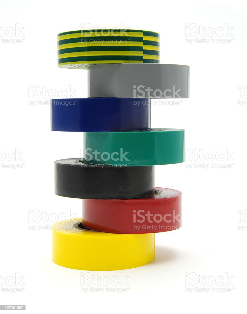 Stacked PVC electrical insulating tape royalty-free stock photo