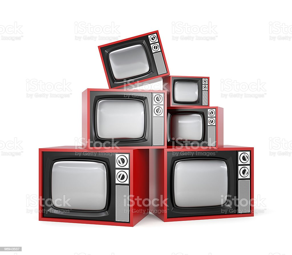 Stacked red retro TV on blank background royalty-free stock photo