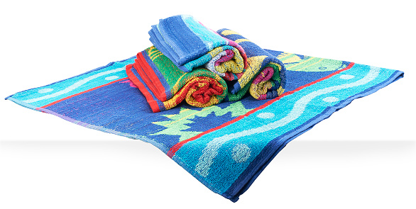 1131900491 istock photo Stacked & rolled beach towels 981865926