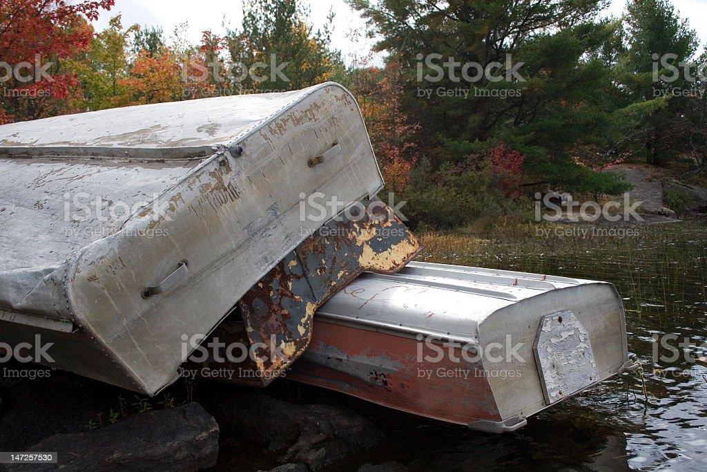 Stacked rowboats royalty-free stock photo