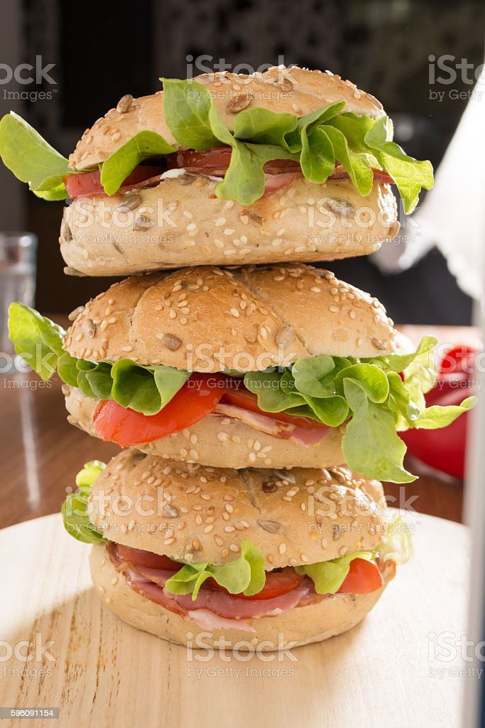 Stacked sandwiches with fresh smoked meat Lizenzfreies stock-foto