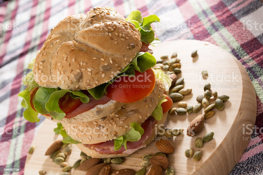 Stacked sandwiches with fresh smoked meat royalty-free stock photo