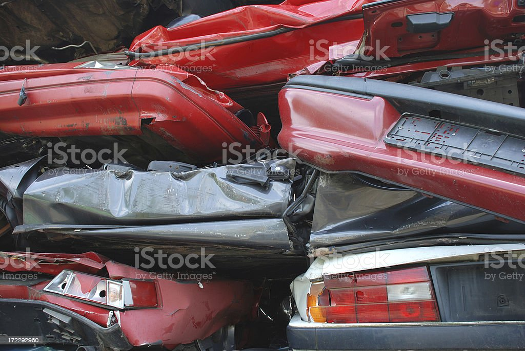 stacked scrap cars royalty-free stock photo
