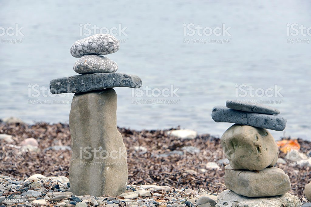 stacked sea stones at shore Lesvos royalty-free stock photo