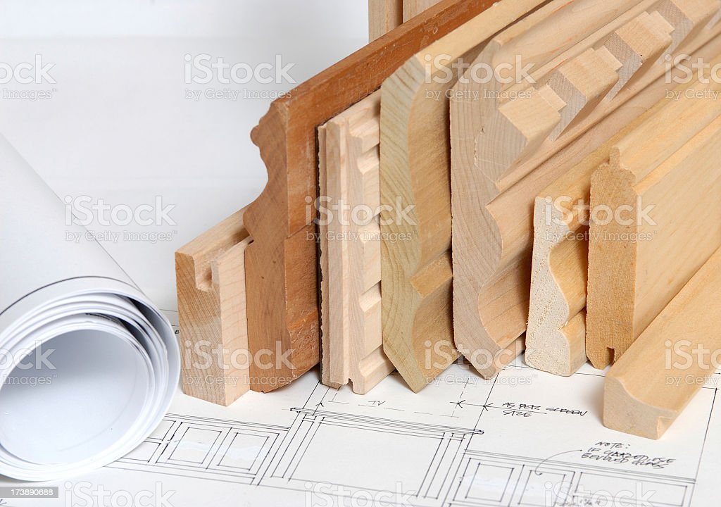 Stacked shelving and molding with blueprints  royalty-free stock photo