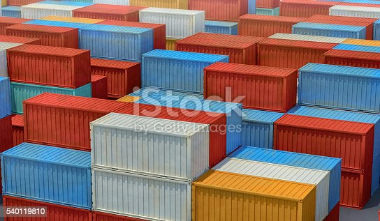 istock Stacked shipping containers background 540119810