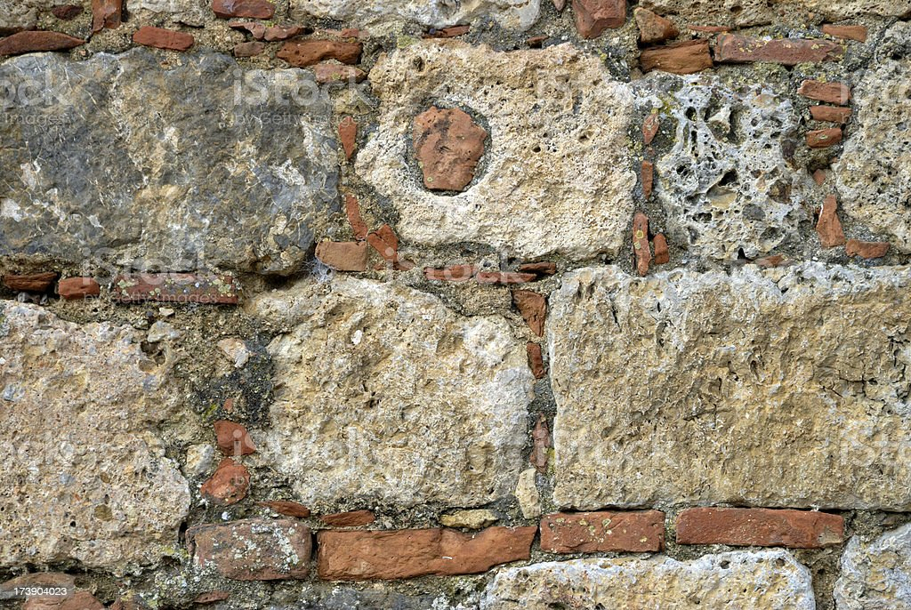 Stacked stone and brick background. stock photo