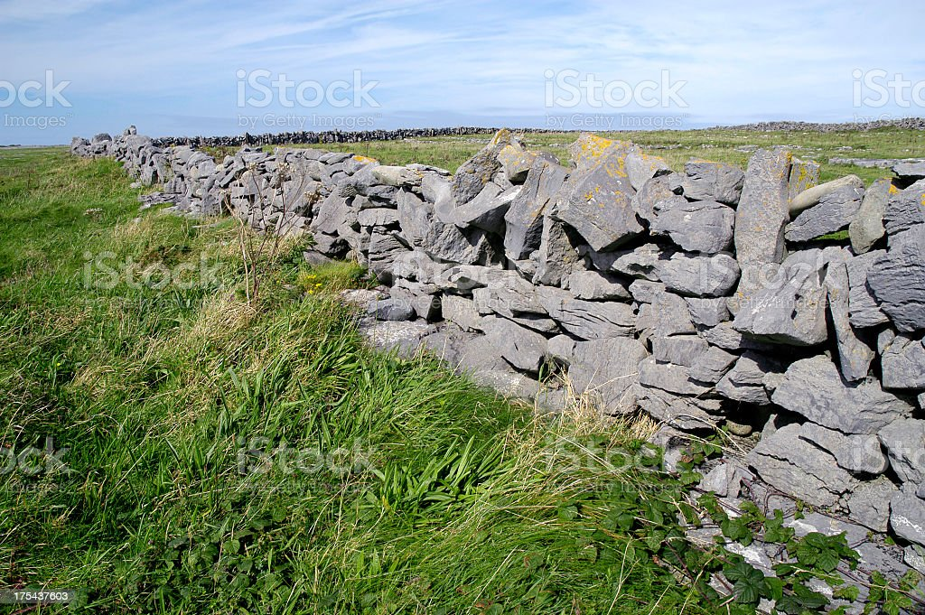 Stacked stone fence in County Clare, Ireland. royalty-free stock photo