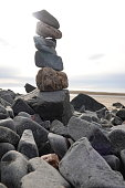Stacked stones at a beach