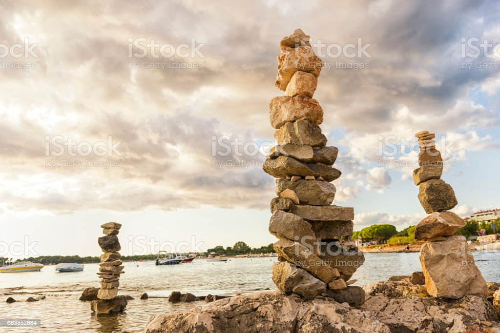 Stacked stones in balance stock photo