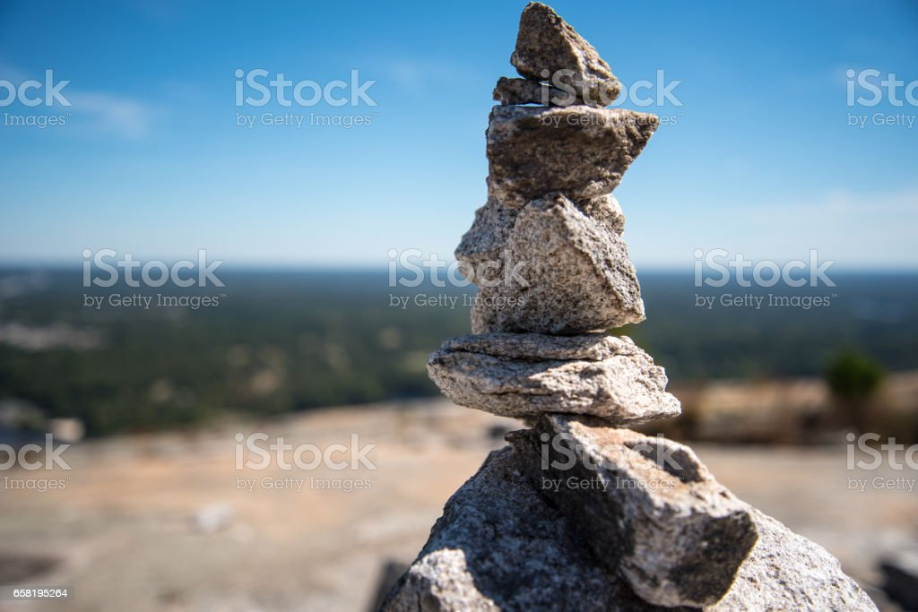 Stacked Stones in Landscape stock photo