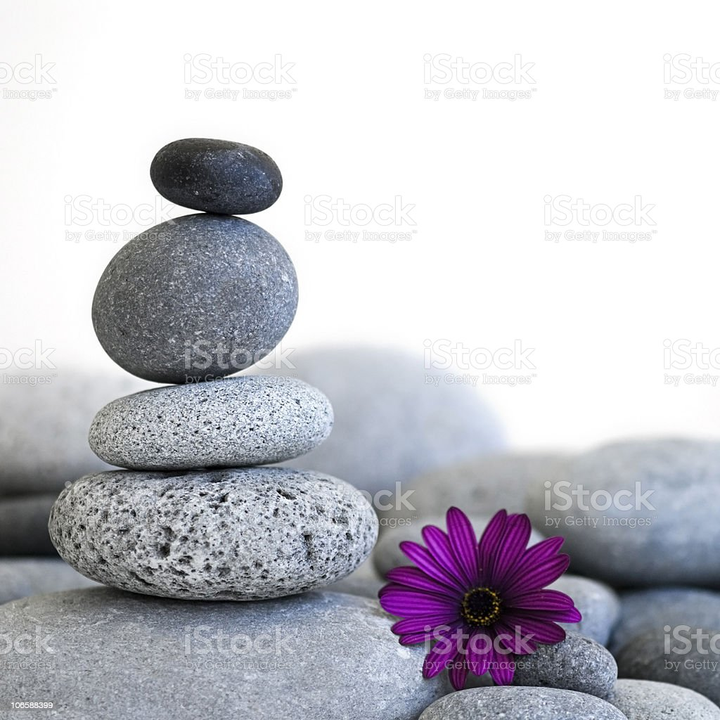 Stacked stones with a purple flower stock photo
