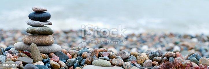 Panoramic shot of pebble stones on the sea beach