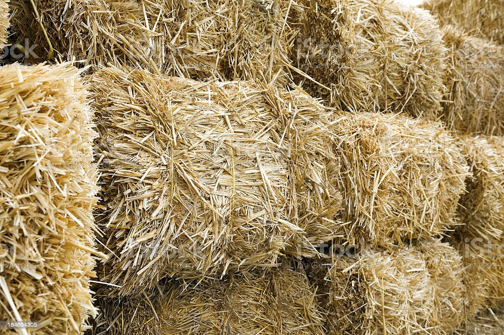 Stacked Straw Hay Bails royalty-free stock photo