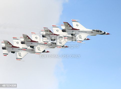 istock Stacked Thunderbird formation in airshow 487324308