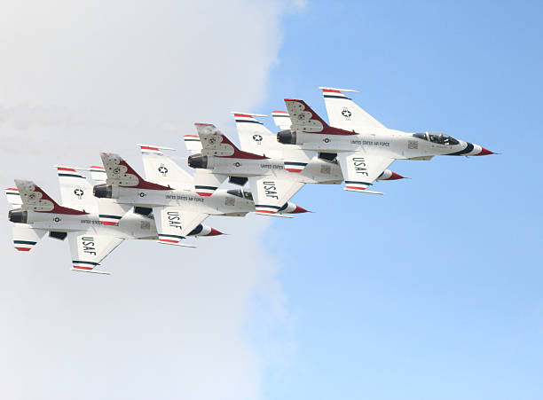 stacked thunderbird formation in airshow - sonic boom stock photos and pictures