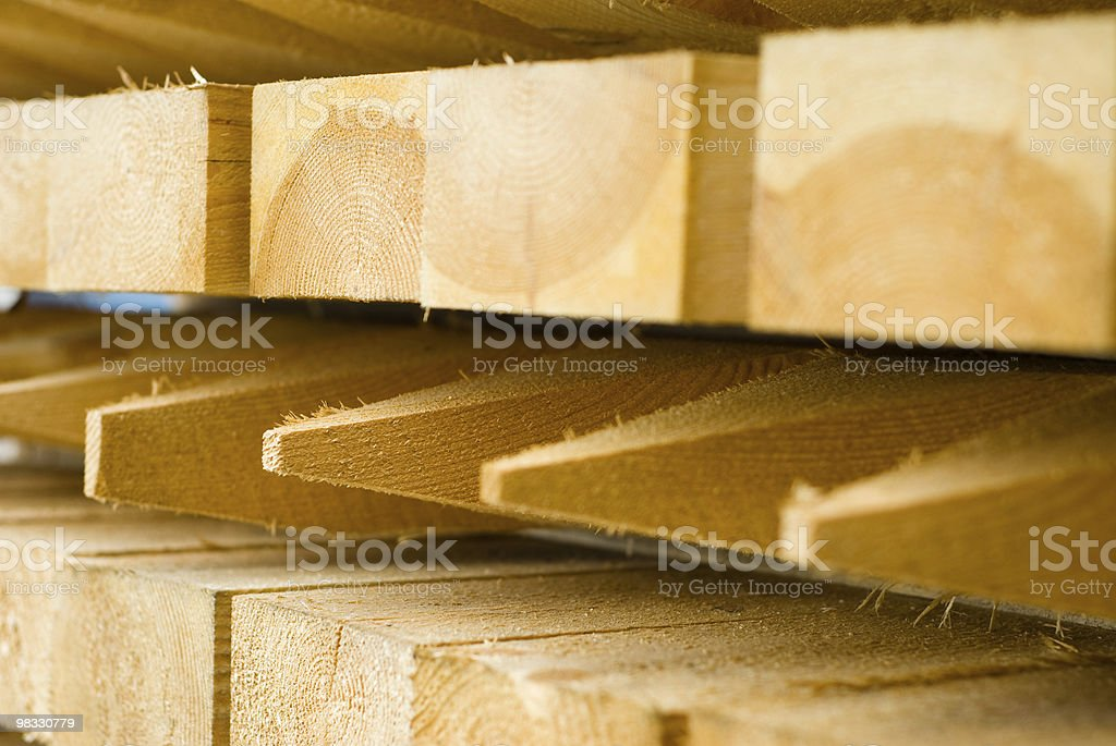 Stacked Timber Fencing Posts royalty-free stock photo