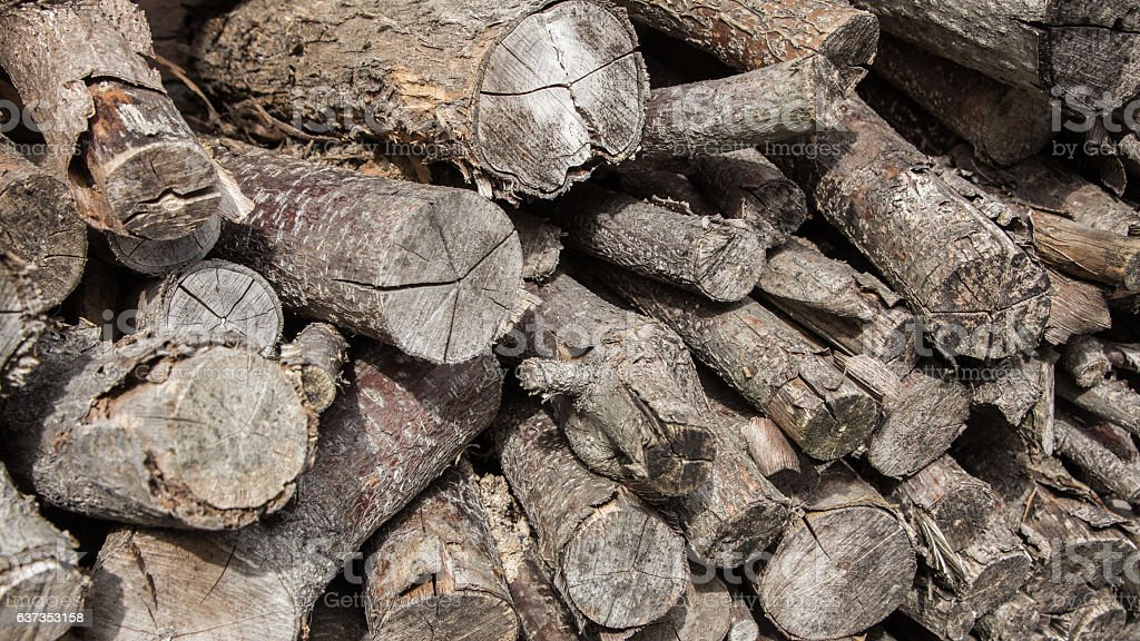 Stacked timber logs structure stock photo