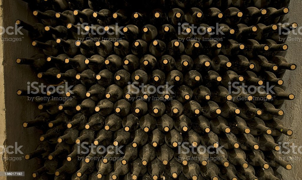stacked up wine bottles royalty-free stock photo