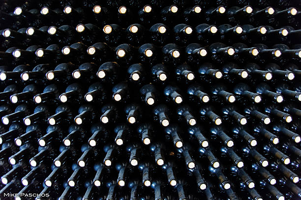 Stacked wine botles stock photo