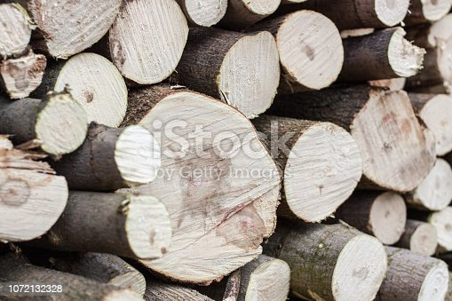 istock Stacked wood pine timber,flat lay, background texture 1072132328