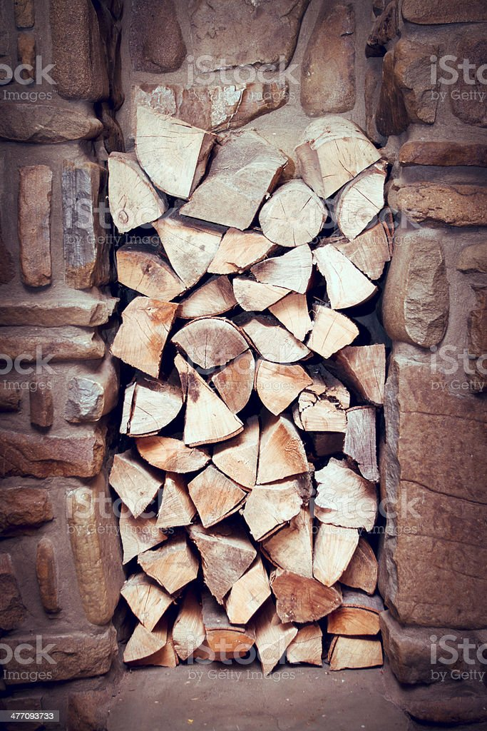 Stacked wood prepared for fireplace stock photo