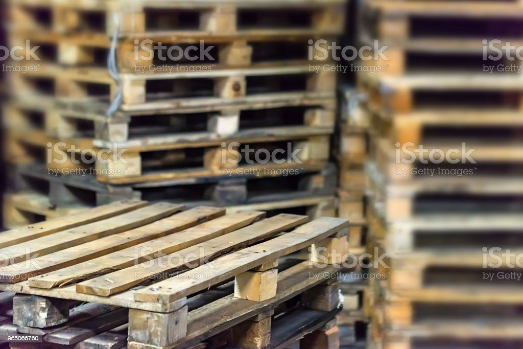 Stacked wooden pallets zbiór zdjęć royalty-free