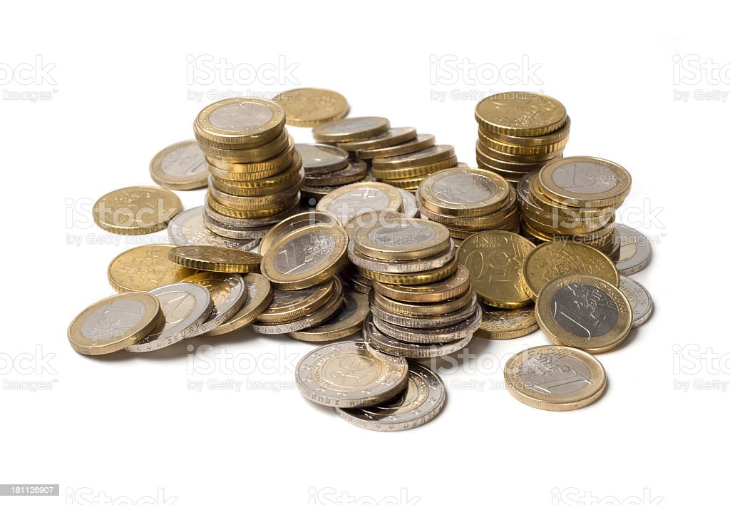 Stacks and piles of Euro coins royalty-free stock photo